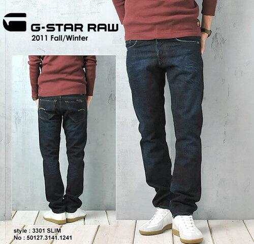 G-STAR RAW ジースターロウ スリムストレートデニムパンツ 3301SLIM GSTAR 50127.3141.1241【コン...