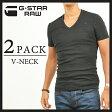 【10%OFF/送料無料】G-STAR RAW ジースターロウ 2枚組ダブルパックTシャツ(Vネック)8756-124-990(BLACK)【コンビニ受取対応商品】