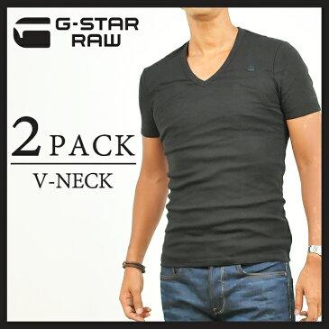 【マラソン期間限定ポイント2倍】SALEセール10%OFF G-STAR RAW ジースターロウ 2枚組ダブルパックTシャツ(Vネック)D07207-124(8756-124)990/BLACK【gs2】
