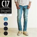 裾上げ無料 C17 シーセブンティーン ストレッチ スキニー デニムパンツ メンズ ジーンズ C-SEVENTEEN CX006
