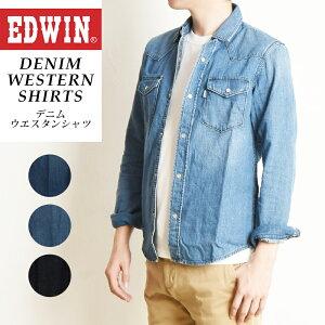 SALEセール5%OFF EDWIN エドウィン デニム ウエスタンシャツ 長袖 メンズ カジュアル デニムシャツ ET2091【gs2】