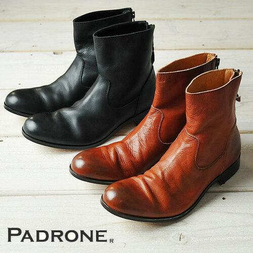 "PADRONE パドローネ プレーントゥ ブーツ(バックジップ)""EDWARD"" PADR..."