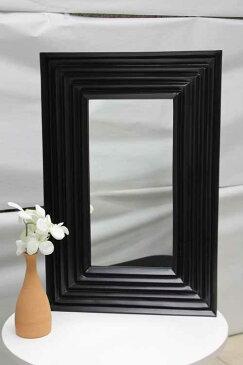 アウトレット家具 Baque de Loop 鏡 ミラー ウォールミラー MRR002 アジアン ブラック 黒