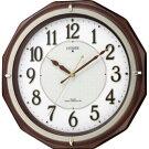 訳ありアウトレット品シチズンCITIZENリバライトM801茶色木枠電波壁掛け時計アナログ4MY801-006リズム時計工業