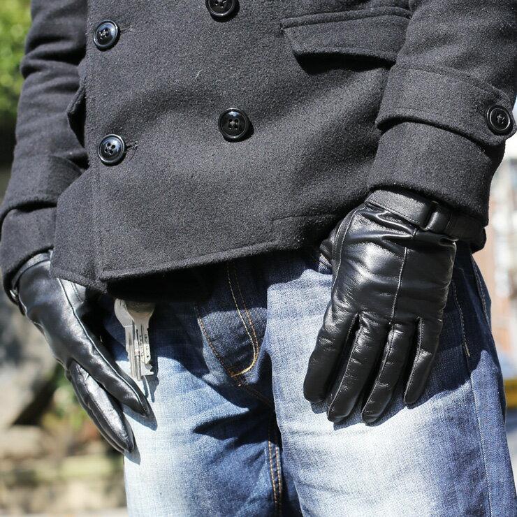 リアルレザーグローブメンズ手袋レザーメンズビジネス革手袋ベルト付メンズレザーグローブ