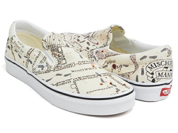 メンズ靴, スニーカー VANS CLASSIC SLIP-ON (HARRY POTTER) MARAUDERS MAP CLASSIC WHITE