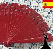 スタンダードアバニコ(扇子)約21.5cm赤色/アンダルシア地方/フラメンコ/ダンス/スペイン/レッド/切り絵/キレイ/綺麗/美しい/エンジ/ワインレッド
