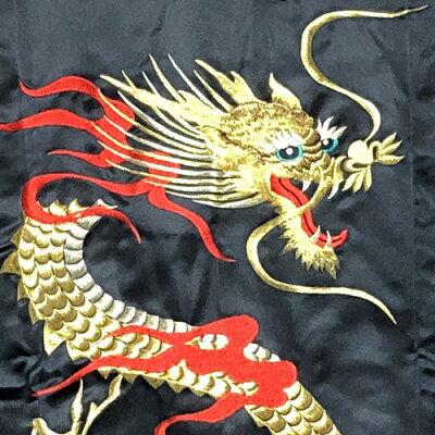外国人向けポリエステル着物火炎ドラゴン刺繍龍着物黒【ドラゴンローブ】【日本のおみやげ】【日本のお土産】【ホームステイのおみやげ】【外国人向け着物】【ガウン】