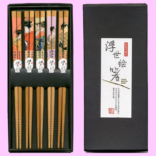 Wooden chopsticks set Ukiyo-e prints beautiful bamboo