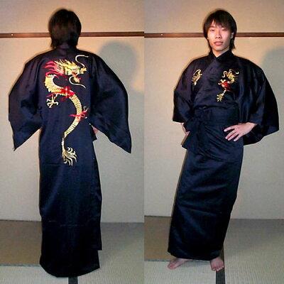 外国人向けポリエステル着物火炎ドラゴン刺繍黒
