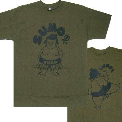 おもしろTシャツSUMO相撲カーキx黒