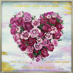 おしゃれでかわいい絵画 お祝い ギフト OP-25073 /オイル ペイント アート 「ハート ローズ」 壁掛用 OP-25073