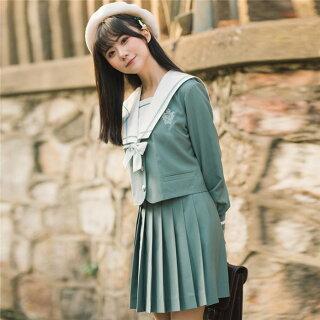 DreamSwingセットアップ:冬服セーラー服&プリーツスカート&リボン緑グリーン女子高生JK制服大きいサイズアウタージャケットレディースファッションLJKJ01-1れのPのおすすめ