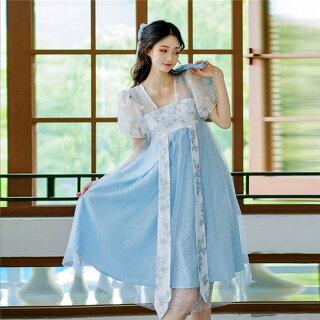 DreamSwingレディース透け漢服風ワンピース水色刺繍中華風パフスリーブハイウエストDS436夏乙女系姫系れのPのおすすめ