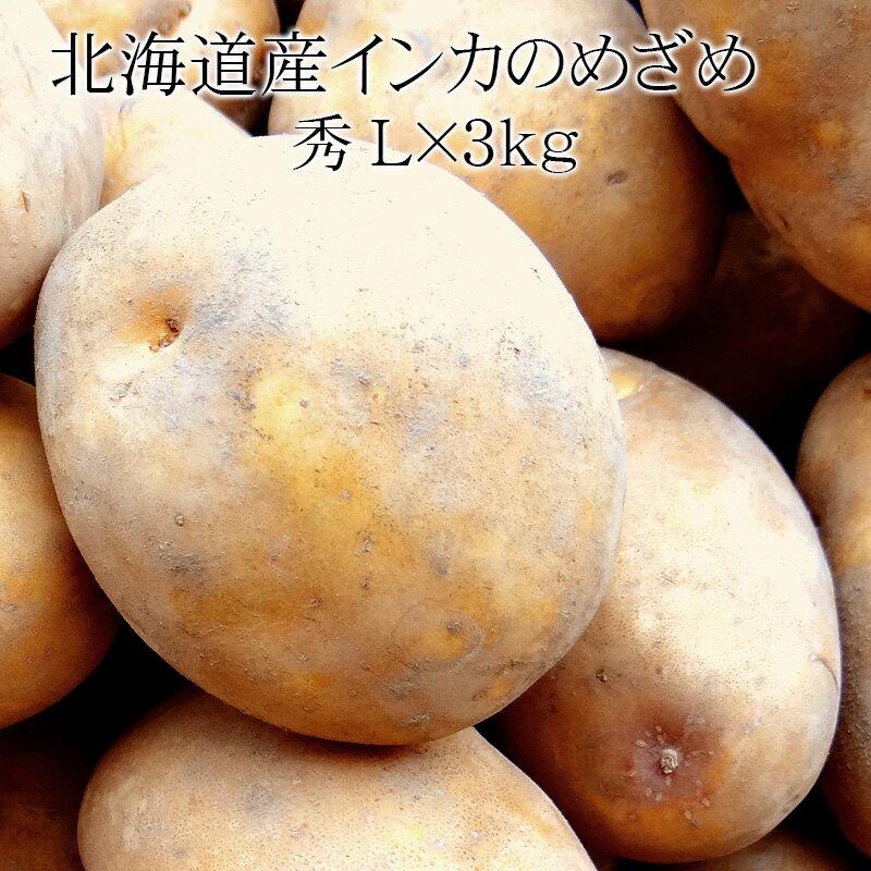 北海道産インカのめざめ Lx3kg  秀 [大玉 じゃがいも 使いやすい量 野菜便 常温便 ]