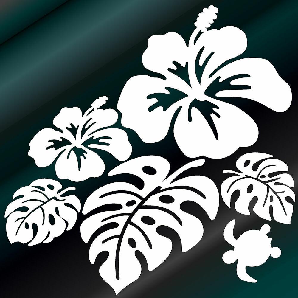 ハワイアン ハイビスカス モンステラ と かわいい カメ (左向)