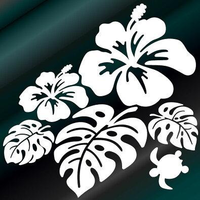 ハワイアンハイビスカスモンステラとかわいいカメ(左向)サイズ:20cm×20cmカッティングモンステラステッカーハイビスカスサーフステッカーハワイステッカー車ステッカー車用