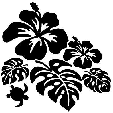 ハワイアンハイビスカスモンステラとかわいいカメ(右向)サイズ:14cm×14cmカッティングモンステラステッカーハイビスカスサーフステッカーハワイステッカー車ステッカー車用