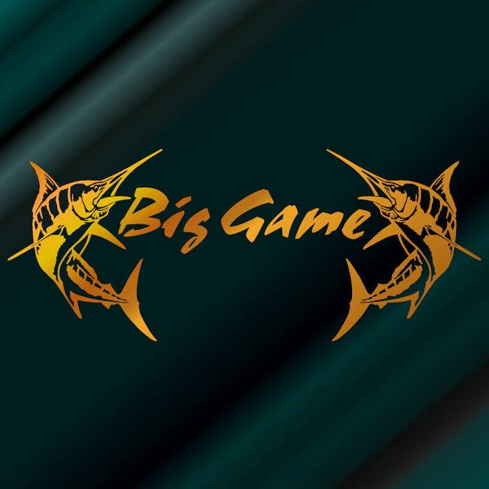 【送料無料】カジキ ステッカー Bib Game トローリング ファイト!サイズ:24cm×58cm カッティング(金色)ステッカー カジキ ステッカーサーフ ステッカー ハワイアンステッカー 車 ステッカー 車用