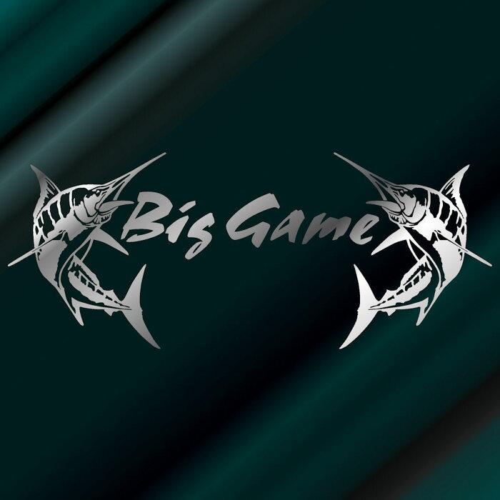 【送料無料】カジキ ステッカー Bib Game トローリング ファイト!サイズ:24cm×58cm カッティング(銀色)ステッカー カジキ ステッカーサーフ ステッカー ハワイアンステッカー 車 ステッカー 車用