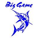 Big Game ステッカー カジキ ステッカー 釣り トロリーングサイズ:30cm×24cm 左向き(青色)車ステッカ...