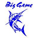 Big Game ステッカー カジキ ステッカー 釣り トロリーングサイズ:30cm×24cm 右向き(青色)車ステッカ...