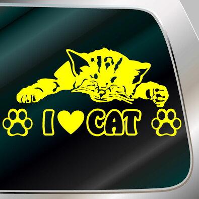 かわいいねこステッカー:ILOVECATサイズ:15cm×30cmステッカー車猫グッズ猫雑貨ネコ雑貨ねこ雑貨かわいいねこシールねこステッカー車用