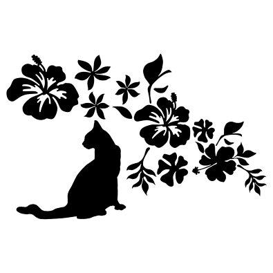 猫ステッカー南国の花をあしらったお洒落なハワイアン
