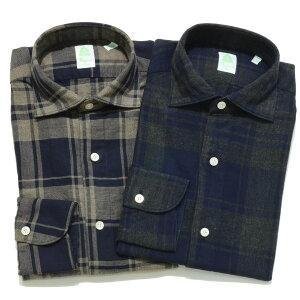 Finamore(フィナモレ)LUIGIルイジコットンヘリンボーンタータンチェックワイドカラーシャツ08121211052002039