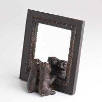子犬のオブジェつき「ミニブルドッグ・ミラー」ワンコの鏡