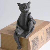 すわって本を読むネコのオブジェ「猫の読書2」置物メガネをかけたねこ