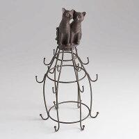 ネコのオブジェ「ネックレスホルダー」ねこの置物アクセサリーハンガージュエリーハンガー