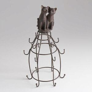◆猫の置物 アクセサリーかけ◆ねこ好きの方への贈り物に◆お気に入りのジュエリーを飾って楽...