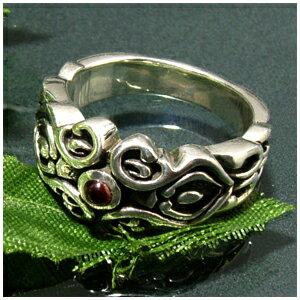 エスニック調 ガーネット シルバーリング 15〜23号 指輪 リング Ringメンズ レディース 男性女性指輪 プレゼント 人気 かわいい おしゃれ