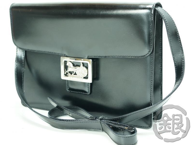レディースバッグ, ショルダーバッグ・メッセンジャーバッグ 5,000off celine paris vintage black leather horse carriage shoulder bag italy GINZA-JAPAN LV