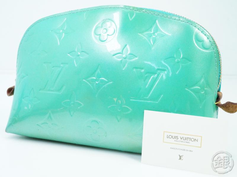 レディースバッグ, 化粧ポーチ 5,000off AUTHENTIC PRE-OWNED LOUIS VUITTON VERNIS BLUE LAGON POCHETTE COSMETIC POUCH BAG M91747 GINZA-JAPAN