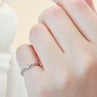 ピンキーリング指輪ピンクダイヤK18ホワイトゴールドミル打ち透かしリング一粒ダイヤ『20th記念リング』レディース【楽ギフ_包装】