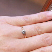 婚約指輪ダイヤエンゲージリングK18ピンクゴールドダイヤモンド【0.2ct〜0.23ctFカラーVS2トリプルエクセレントH&C鑑定書付】銀座リム『Stephanie』レディース指輪