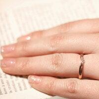 結婚指輪ダイヤモンドマリッジリング18金ピンクゴールド【3号〜20.5号】ペアリング【刻印&誕生石無料】甲丸リング銀座リム『Sophie』K18PGブライダルレディース指輪