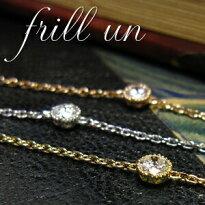 【特別価格】☆mesanges☆【K18】ネックレス【SIクラス相当】天然ダイヤモンド【0.1ct】
