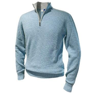 FEDELI (フェデーリ) ミドルゲージカシミヤニットハイネックZIPセーター メンズ カジュアル 大きいサイズ カシミヤ おしゃれ 長袖 無地 ブランド ブルー