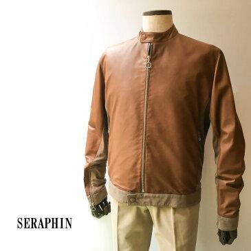 Seraphin (セラファン)レザーブルゾン ラムスキン メンズ カジュアル ライトブラウン 本革 シングルライダース スウェード