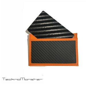 TecknoMonster(テクノモンスター)サブラージュカードカードケース定期入れパスケースクレジットカードケースブランドメンズレディースソフトカーボンファイバーカーフレザーチタンハードカーボンファイバーイタリア製サブラージュオレンジ