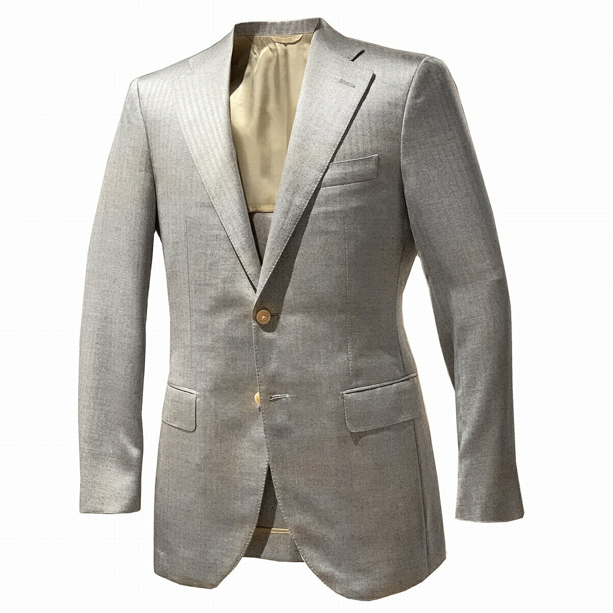 HIKO (ヒコオリジナル) テーラードジャケット 春夏 メンズ カジュアル グレー シルク ウール 大きいサイズ 2つボタン 2B 背抜き おしゃれ 白蝶貝ボタン