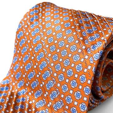 STEFANO RICCI(ステファノリッチ) プリーツタイ ネクタイ 小紋柄 オレンジ ステファノリッチネクタイ