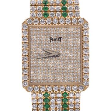 PIAGET ピアジェ 94541C627 レディース K18YG/ダイヤ/エメラルド 腕時計 手巻き ダイヤ文字盤 Aランク 中古 銀蔵