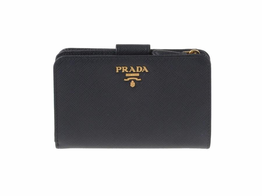 プラダ・PRADA コンパクトジップ財布 サフィアーノ 黒 1ML225【中古】◇:銀蔵・
