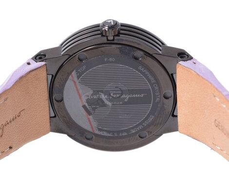 未使用フェラガモ・FERRAGAMOF-80ラインストーンPVD革レディース腕時計クオーツ【】◇