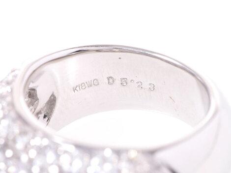 K18WG・パヴェリングダイヤ5.23ctK18WG15.3g#11.5【】◇