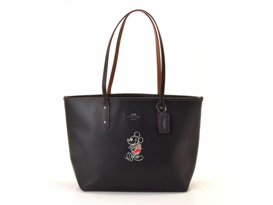 未使用コーチ・COACH トートバッグ 黒 レザー Disneyコラボ 限定 F59357 アウトレット【中古】◇:銀蔵・